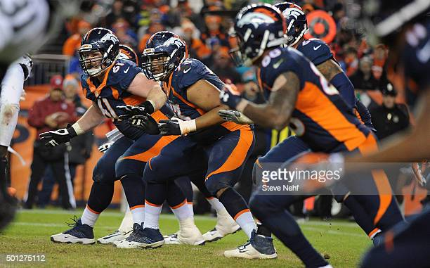 The Denver Broncos offensive sets up to pass block against the Oakland Raiders defense during the fourth quarter December 13 2015 at Sports Authority...