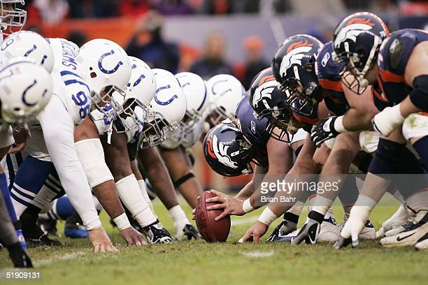 The Denver Broncos prepare to snap the ball on a field goal against the Indianapolis Colts in the second quarter on January 2 2005 at Invesco Field...