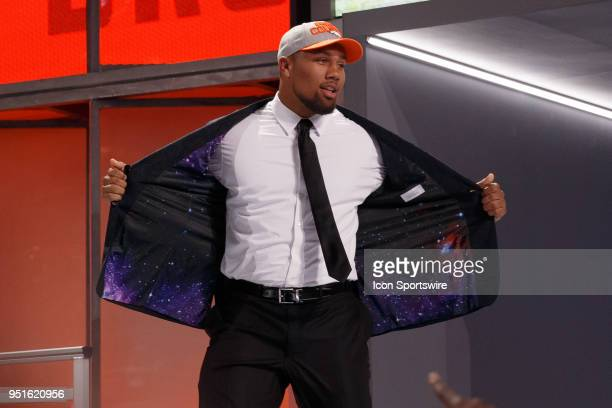 The Denver Broncos select North Carolina State Defensive End Bradley Chubb fifth overall during the first round of the NFL Draft on April 26 2018 at...