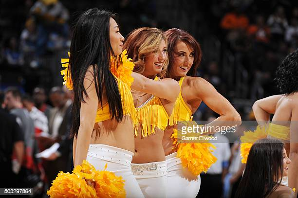 The Denver Nuggets cheerleaders perform their routine during the game against the Portland Trail Blazers on January 3 2016 at the Pepsi Center in...