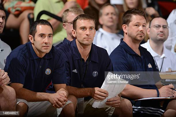 The Denver Nuggets coaching staff looks on versus the Golden State Warriors during NBA Summer League on July 14 2012 at Cox Pavilion in Las Vegas...