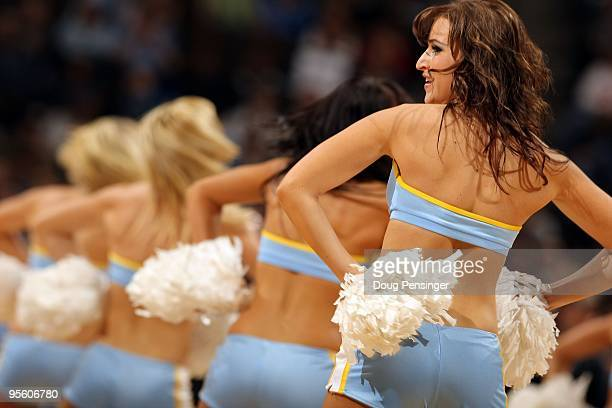 The Denver Nuggets Dance Team perform during a break in the action against the Golden State Warriors at the Pepsi Center on January 5 2010 in Denver...