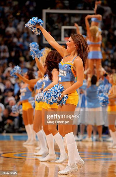 The Denver Nuggets dance team performs during a break in the action against the Dallas Mavericks in Game Two of the Western Conference Semifinals...