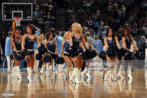 The Denver Nuggets Dance Team performs during a break in the action against the Orlando Magic during NBA action at Pepsi Center on January 13 2010 in...