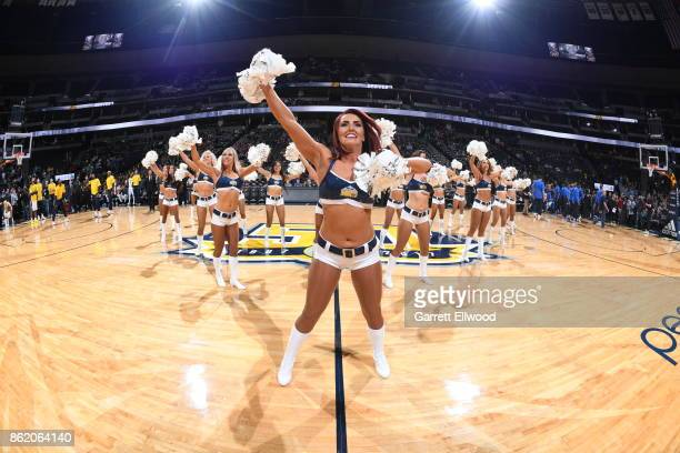 The Denver Nuggets dance team performs during the preseason game against the Oklahoma City Thunder on October 10 2017 at the Pepsi Center in Denver...