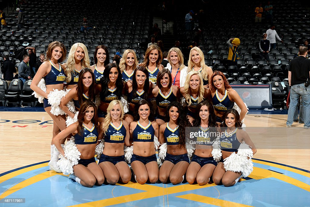 The Denver Nuggets dance team take a picture before a game against the Golden State Warriors on April 16, 2014 at the Pepsi Center in Denver, Colorado.