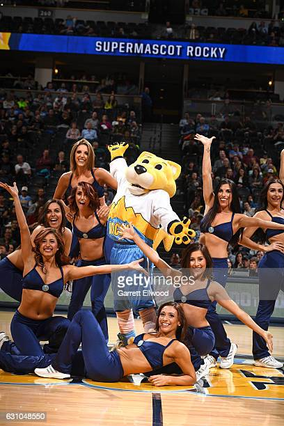 The Denver Nuggets dancers and mascot pose for a picture during the game against the Sacramento Kings on January 3 2017 at the Pepsi Center in Denver...