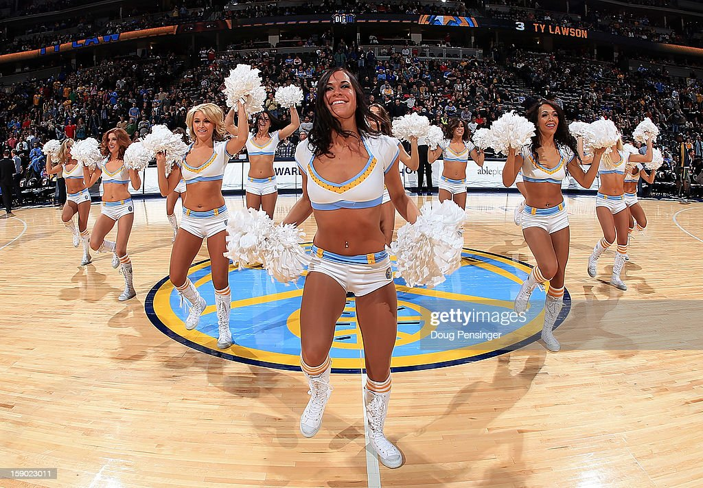 The Denver Nuggets Dancers perform as the Nuggets prepare to face the Utah Jazz at the Pepsi Center on January 5, 2013 in Denver, Colorado. The Nuggets defeated the Jazz 110-91.