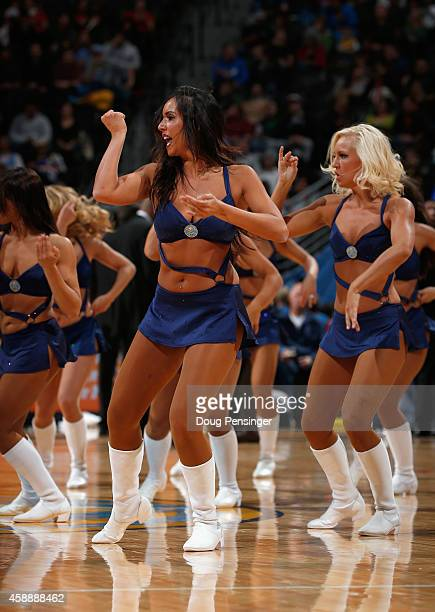 The Denver Nuggets Dancers perform during a break in the action against the Portland Trail Blazers at Pepsi Center on November 12 2014 in Denver...