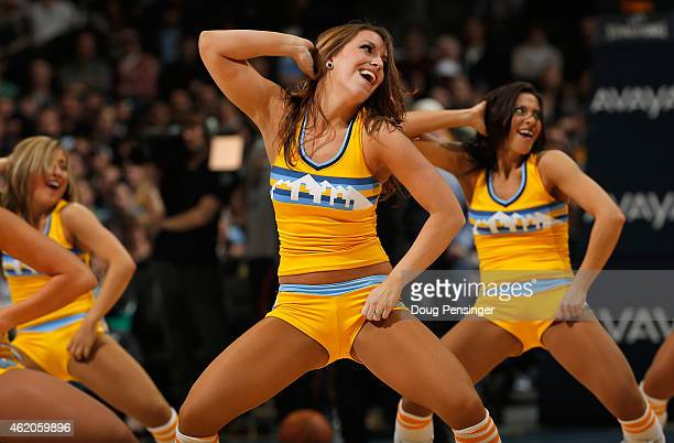 The Denver Nuggets Dancers perform during a break in the action between the Denver Nuggets and the Boston Celtics at Pepsi Center on January 23 2015...
