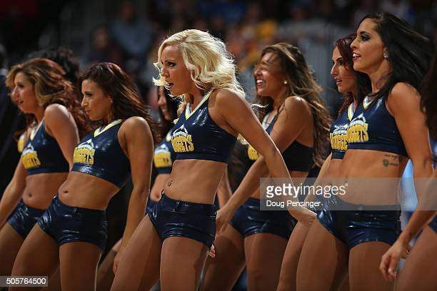 The Denver Nuggets Dancers perform during a break in the action against the Oklahoma City Thunder at Pepsi Center on January 19 2016 in Denver...