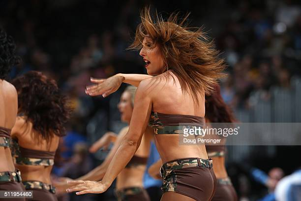 The Denver Nuggets Dancers perform during a break in the action against the Sacramento Kings at Pepsi Center on February 23 2016 in Denver Colorado...