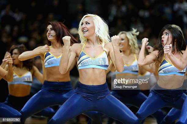 The Denver Nuggets Dancers perform during a break in the action against the Oklahoma City Thunder at Pepsi Center on April 5 2016 in Denver Colorado...
