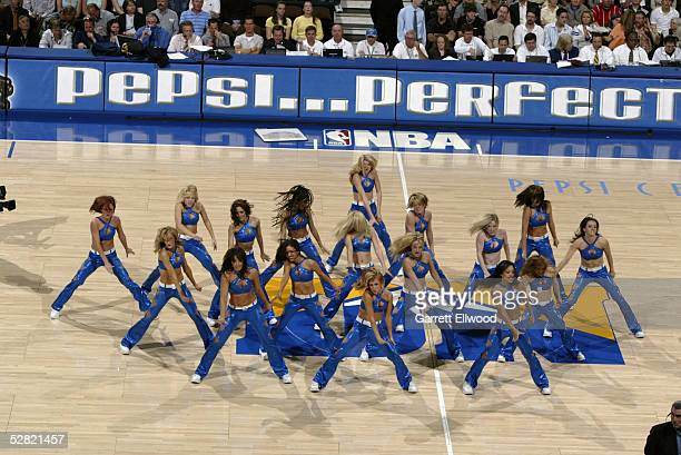 The Denver Nuggets Dancers perform during an intermission in the game against the Portland Trail Blazers on April 19 2005 at the Pepsi Center in...