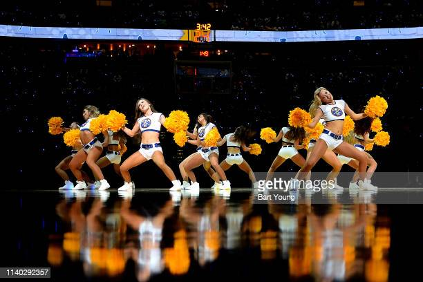 The Denver Nuggets Dancers perform during Game One of the Western Conference Semifinals of the 2019 NBA Playoffs between the Portland Trail Blazers...