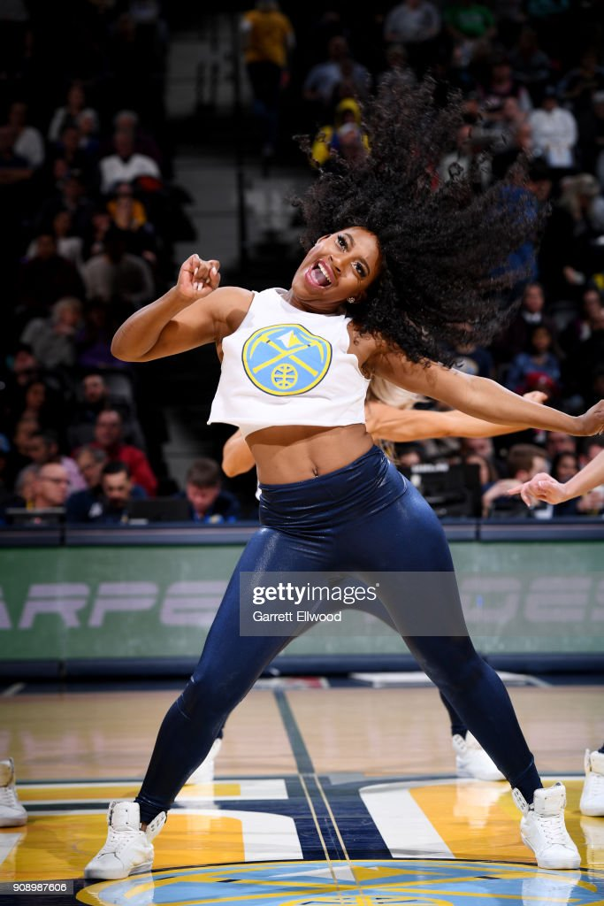 the Denver Nuggets dancers perform during the game against the Portland Trail Blazers on January 22, 2018 at the Pepsi Center in Denver, Colorado.
