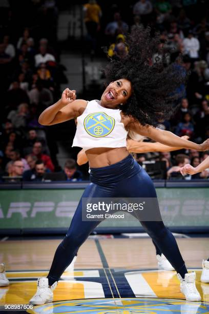 the Denver Nuggets dancers perform during the game against the Portland Trail Blazers on January 22 2018 at the Pepsi Center in Denver Colorado NOTE...