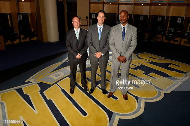 The Denver Nuggets Executive VP of Basketball operations Tim Connelly and President Josh Kroenke introduces new head coach Brian Shaw June 25 2013...