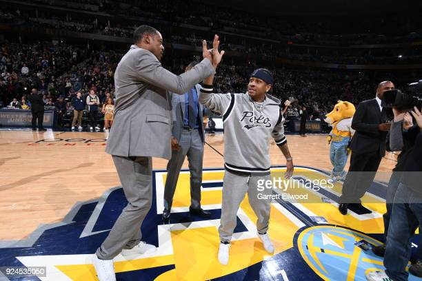 The Denver Nuggets honor Allen Iverson during halftime of the game against the San Antonio Spurs on February 23 2018 at the Pepsi Center in Denver...