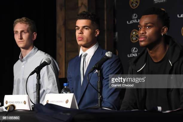 The Denver Nuggets introduce Thomas Welsh Michael Porter Jr and Jarred Vanderbilt during a press conference on June 22 2018 at the Pepsi Center in...