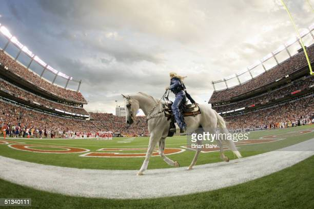 The Denver Nuggets mascot Thunder parades in the endzone during the game against the Kansas City Chiefs on September 12 2004 at Invesco Field at Mile...