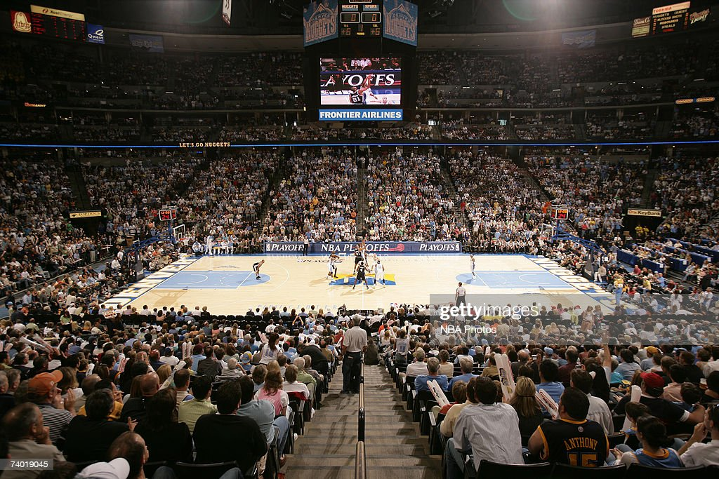 The Denver Nuggets plays against the San Antonio Spurs in Game Three of the Western Conference Quarterfinals during the 2007 NBA Playoffs at Pepsi Center April 28, 2007 in Denver, Colorado.