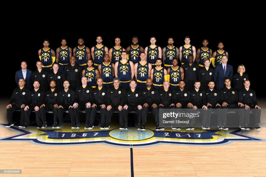 The Denver Nuggets pose for the official team photo on March 12, 2018 at the Pepsi Center in Denver, Colorado.