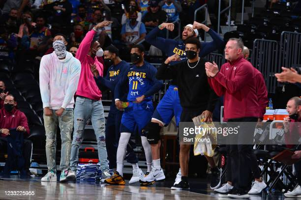 The Denver Nuggets react to a play during the game against the Portland Trail Blazers uring Round 1, Game 5 of the 2021 NBA Playoffs on June 1, 2021...