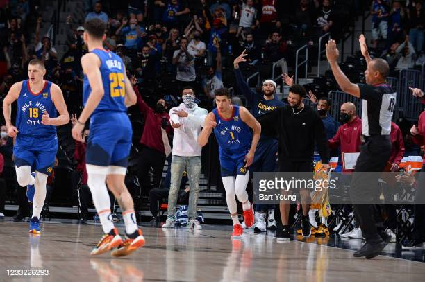 The Denver Nuggets reacts to a play during the game against the Portland Trail Blazers during Round 1, Game 5 of the 2021 NBA Playoffs on June 1,...