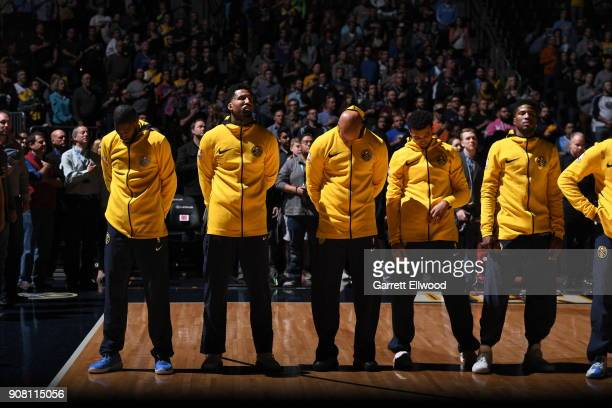 the Denver Nuggets stand for the national anthem prior to the game against the Phoenix Suns on January 19 2018 at the Pepsi Center in Denver Colorado...