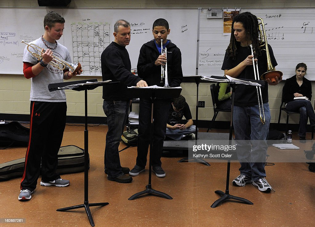 The Denver School of the Arts Jazz Workshop Orchestra gets in some rehearsal time with their band director Dave Hammond, second from left, in preparation for a trip to Savannah, GA for the the Savannah Music Festival's Swing Central Jazz competition. The DSA jazz orchestra is one of only 12 high schools across the nation to be chosen for the competition.