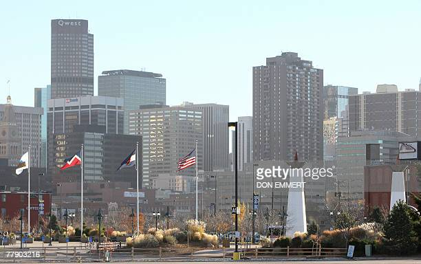 The Denver skyline is seen in this photo taken from the Pepsi Center 13 November 2007 in Denver Colorado The arena has been chosen by the Democratic...