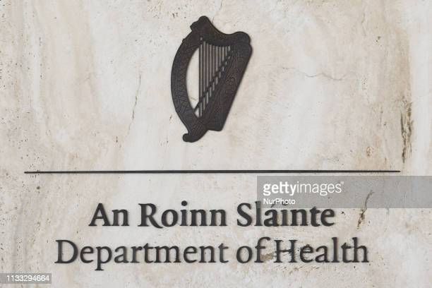 The Department of Health logo pictured during at the publication of a report on strengthening care for sexual assault victims and the announcement of...