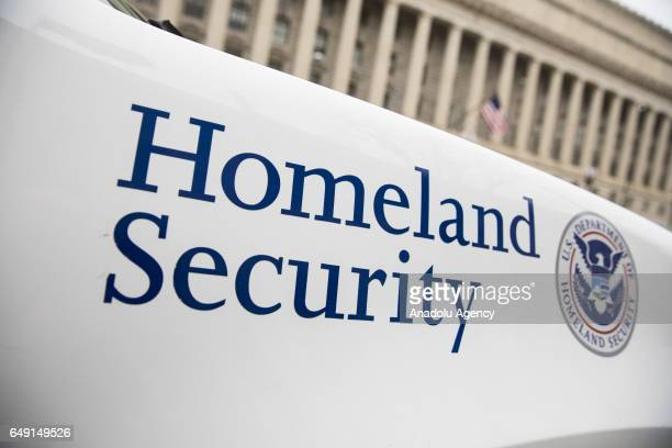 The Department of Homeland Security logo is seen on a law enforcement vehicle in Washington United States on March 7 2017