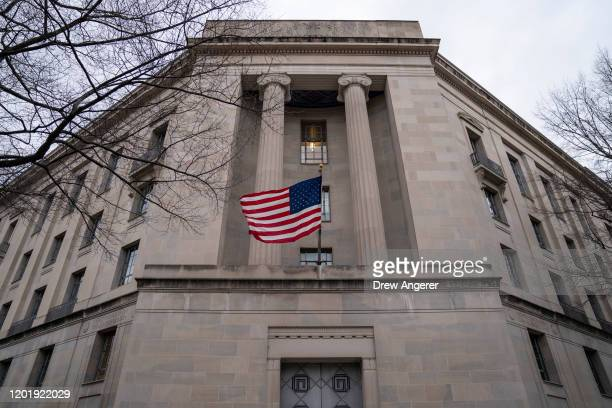 The Department of Justice headquarters stands on February 19, 2020 in Washington, DC. A Department of Justice spokesperson is denying that Attorney...