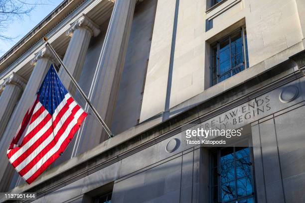 The Department of Justice is seen on March 24 2019 in Washington DC Special counsel Robert Mueller has delivered his report on alleged Russian...