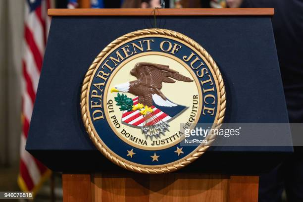 The Department of Justice seal in Washington DC on Thursday April 12 2018