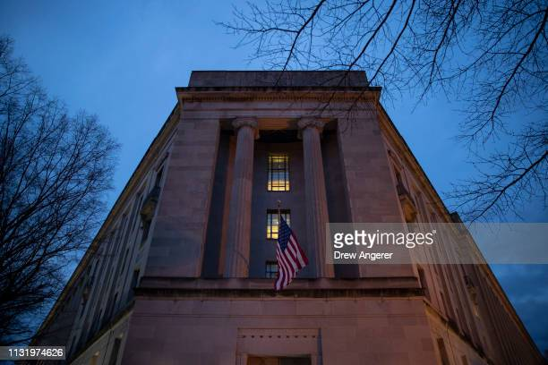 The Department of Justice stands in the early hours of Friday morning March 22 2019 in Washington DC It is expected that Robert Mueller will soon...