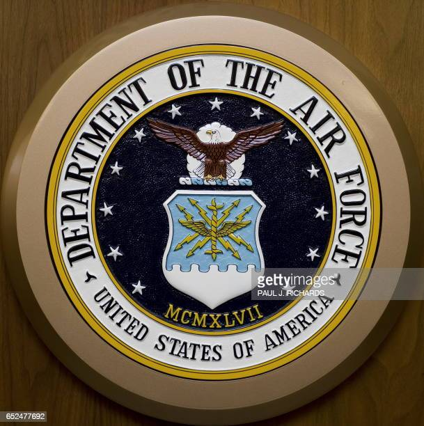 The Department of the Air Force seal hangs on the wall February 24 at the Pentagon in WashingtonDC AFP Photo/Paul J Richards / AFP PHOTO / Paul J...