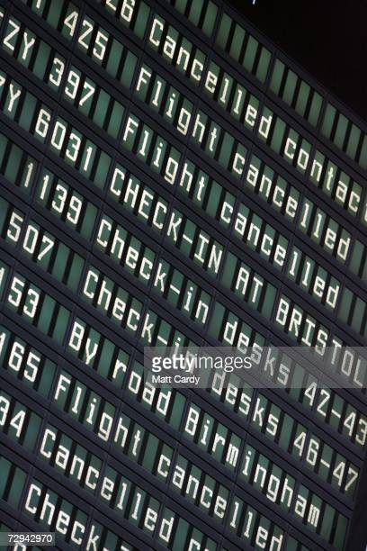 The departure board is seen in the departures hall after numerous airlines refused to land or take off after safety fears at Bristol International...