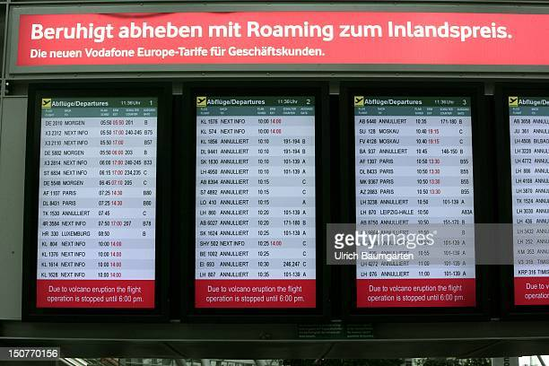 GERMANY DUESSELDORF The departure board shows the cancelled flights at Duesseldorf Airport due to the ash cloud from the volcano eruption at Iceland