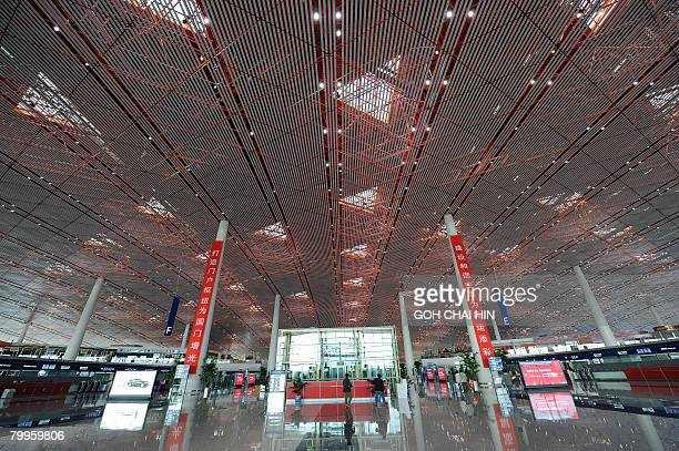 The departure check in hall at the new Terminal 3 of the Beijing Capital International Airport in Beijing on February 19 2008 designed by renowned...