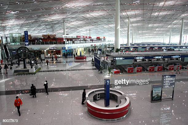 The departure hall of Beijing's giant new airport Terminal Three is seen at Beijing Capital International Airport on February 26 2008 which will open...