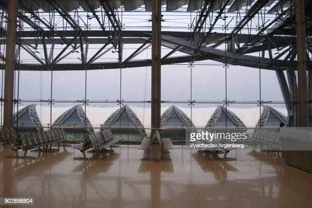 the departure hall of suvarnabhumi airport - argenberg stock pictures, royalty-free photos & images