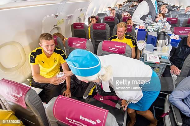 The departure of Borussia Dortmund in Dortmund in the BVB airplane with Sven Bender before preseason friendly match of Borussia Dortmund v FC St...