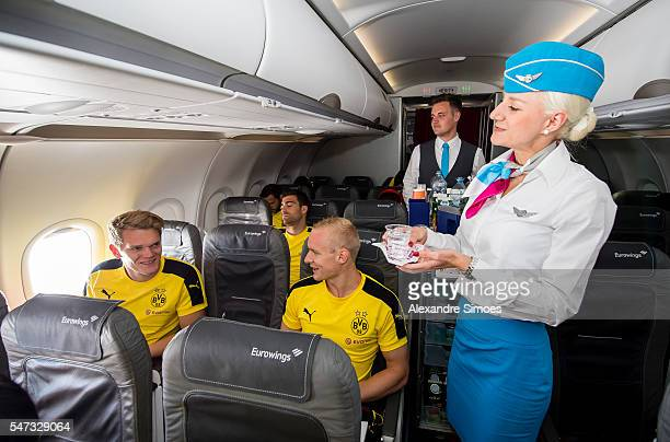 The departure of Borussia Dortmund in Dortmund in the BVB airplane with Matthias Ginter and Matthias Rode before preseason friendly match of Borussia...