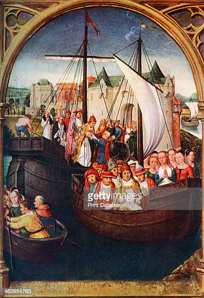 'The Departure of St Ursula from Basel' before 1489 A print after a panel in the Shrine of St Ursula in the Hospital of St John Bruges from Art...