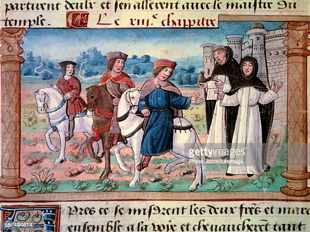The departure of the brothers Niccolo and Maffeo Polo father and uncle of Marco Polo with the young explorer circa 1271 Miniature from The Book of...