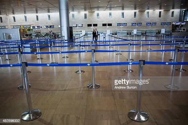 The departures gate sits empty at terminal three at Ben Gurion Airport on July 24, 2014 in Tel Aviv, Israel. The Federal Aviation Administration...