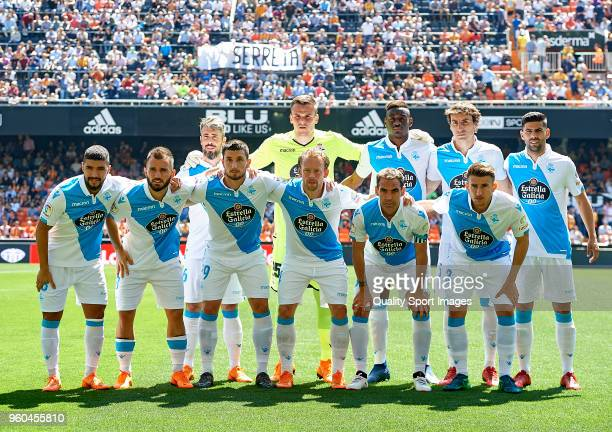 The Deportivo de La Coruna team line up for a photo prior to kick off during the La Liga match between Valencia and Deportivo La Coruna at Mestalla...